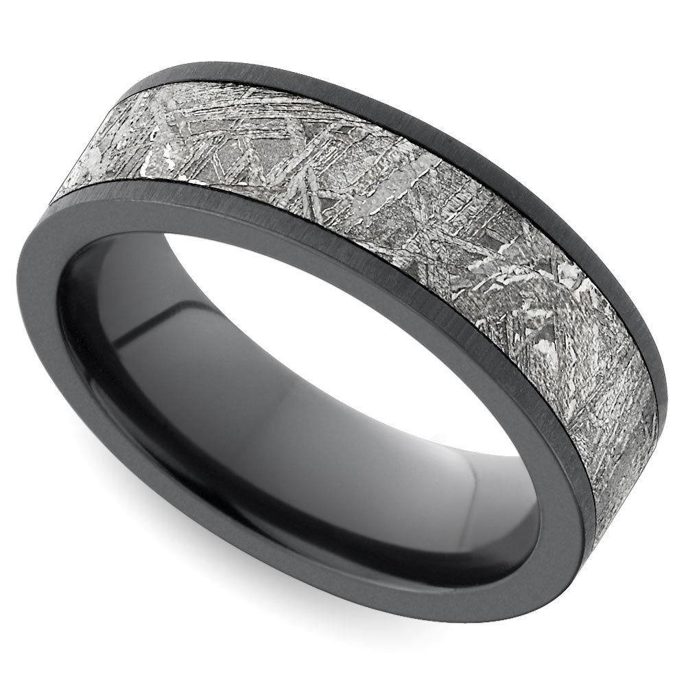 laser carved forest pattern mens band 7 mm cobalt black mens wedding bands Flat Satin Men s Wedding Ring with Meteorite Inlay in Zirconium