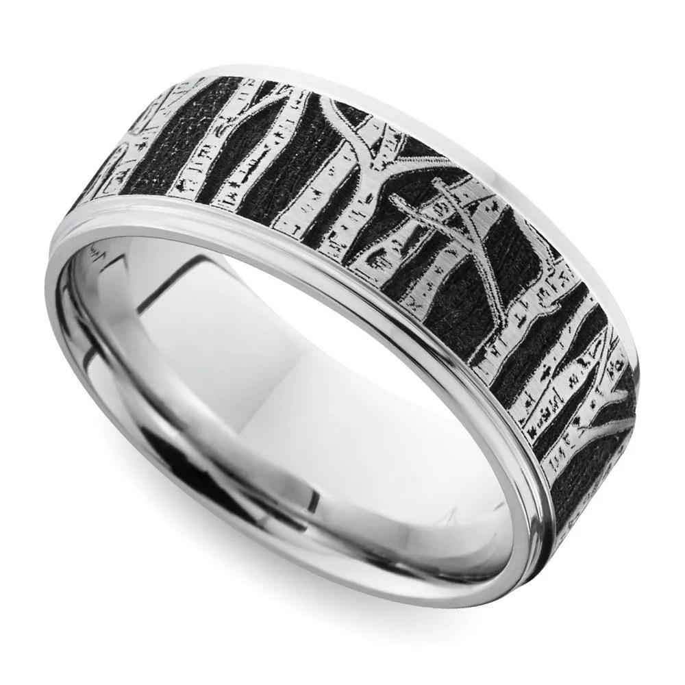 laser carved aspen design mens band 8 mm cobalt cobalt wedding bands