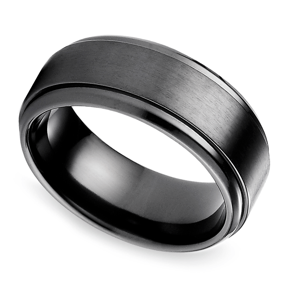 top 10 mens wedding rings mens titanium wedding band Step Edge Men s Wedding Ring in Black Titanium