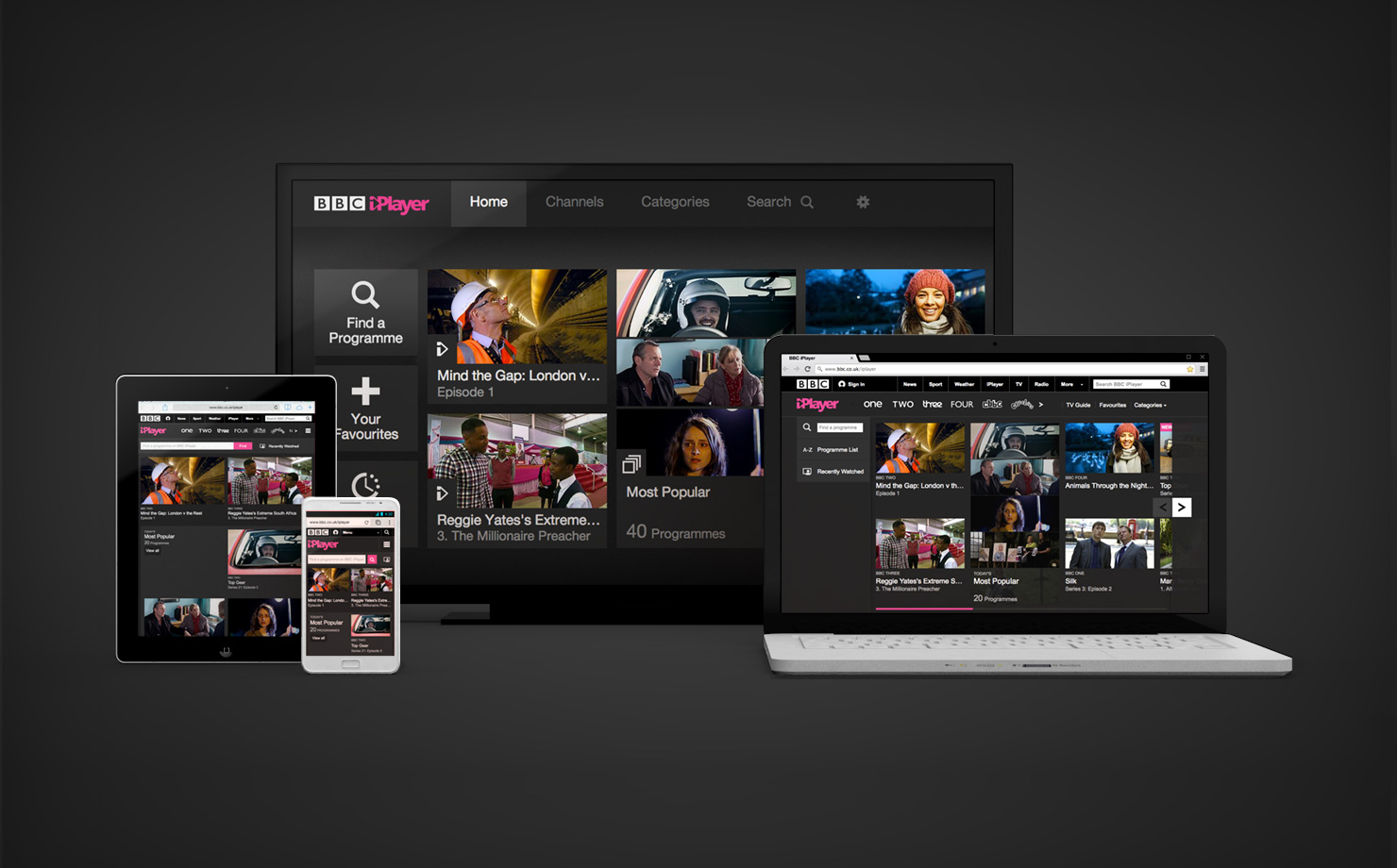 Connected TV most popular iPlayer device iPlayer across four screens dark background