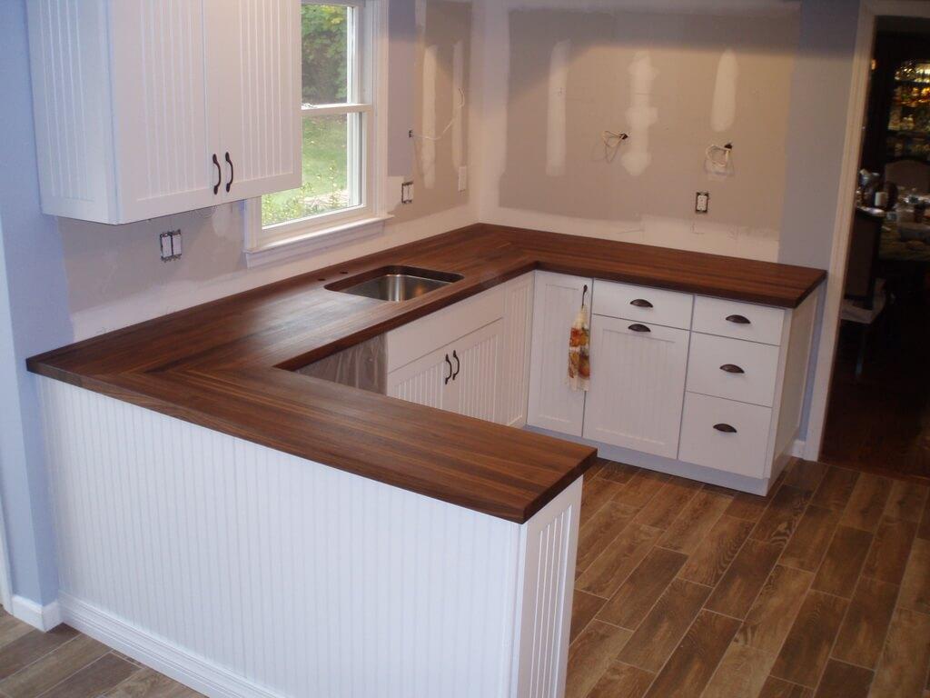classic white kitchen wood countertops kitchen Walnut Edge Grain Butcher Block Wood COuntertop in White Kitchen