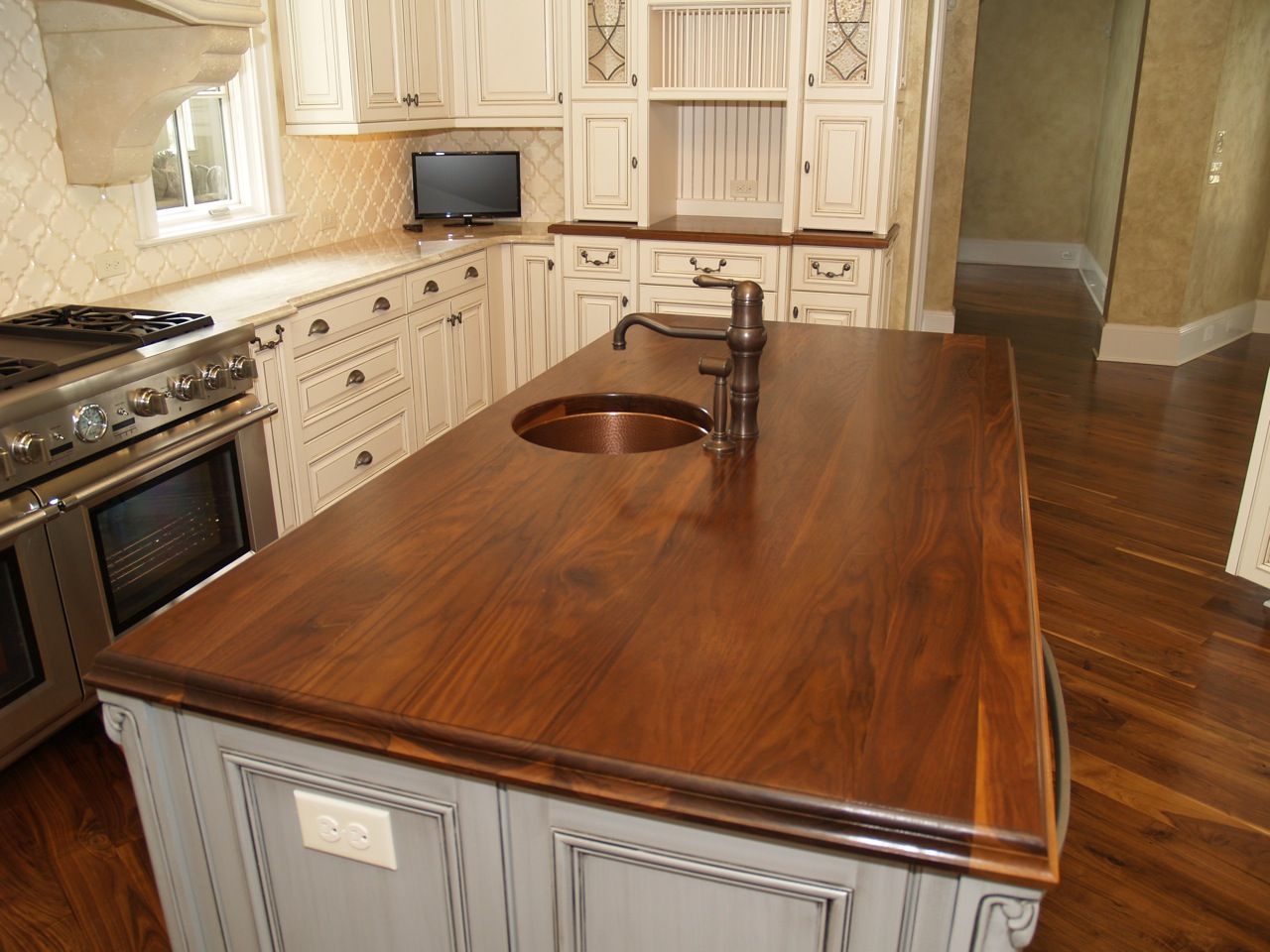 countertops wood countertops kitchen Walnut kitchen countertop wide plank flat grain construction 1 75 thick large double roman ogee edge undermount sink with permanent finish