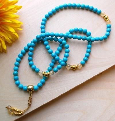 Turquoise & Gold Mala Necklace - Sakura Designs