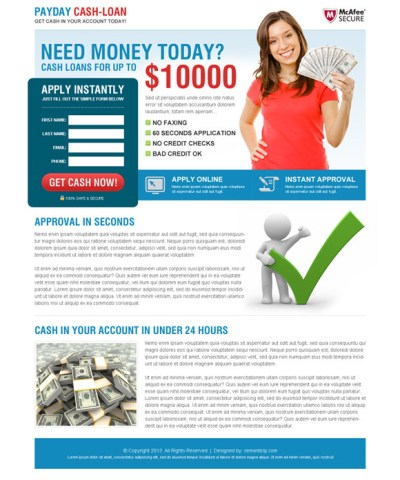 Clean and converting payday loan landing page design to boost your conversion