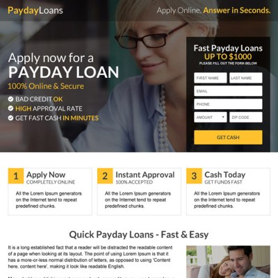 Payday loan lead capture landing page design templates