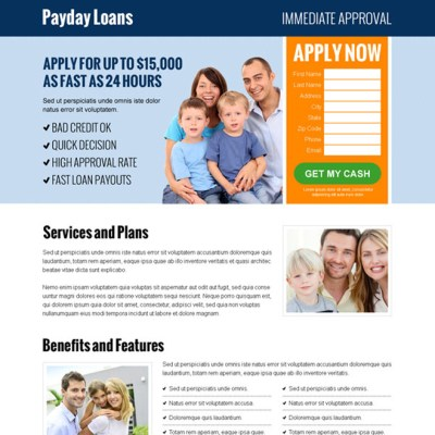 Payday loan landing page design templates for payday loan business conversion page 2