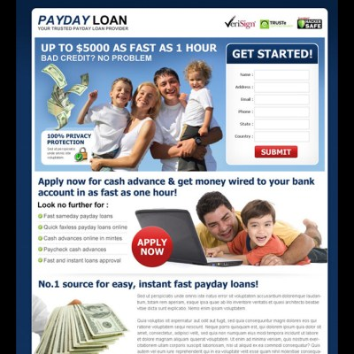 Payday loan lead capture landing page design templates page 4