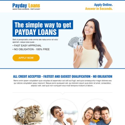 Payday cash loan in advance responsive landing page design templates example page 2
