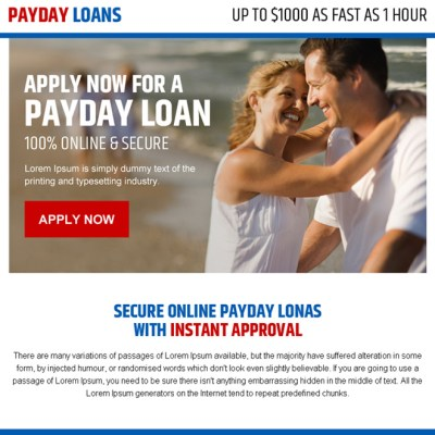 secure online payday loan call to action ppv landing page