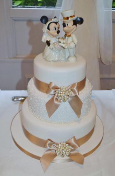 3 Tier Wedding Cake with Mickey & Minnie Mouse Topper.JPG ...