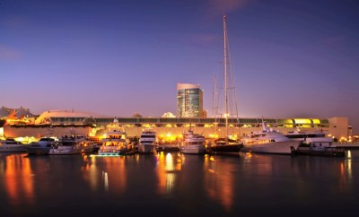 Fifth Avenue Landing & Marina in the evening - San Diego ...