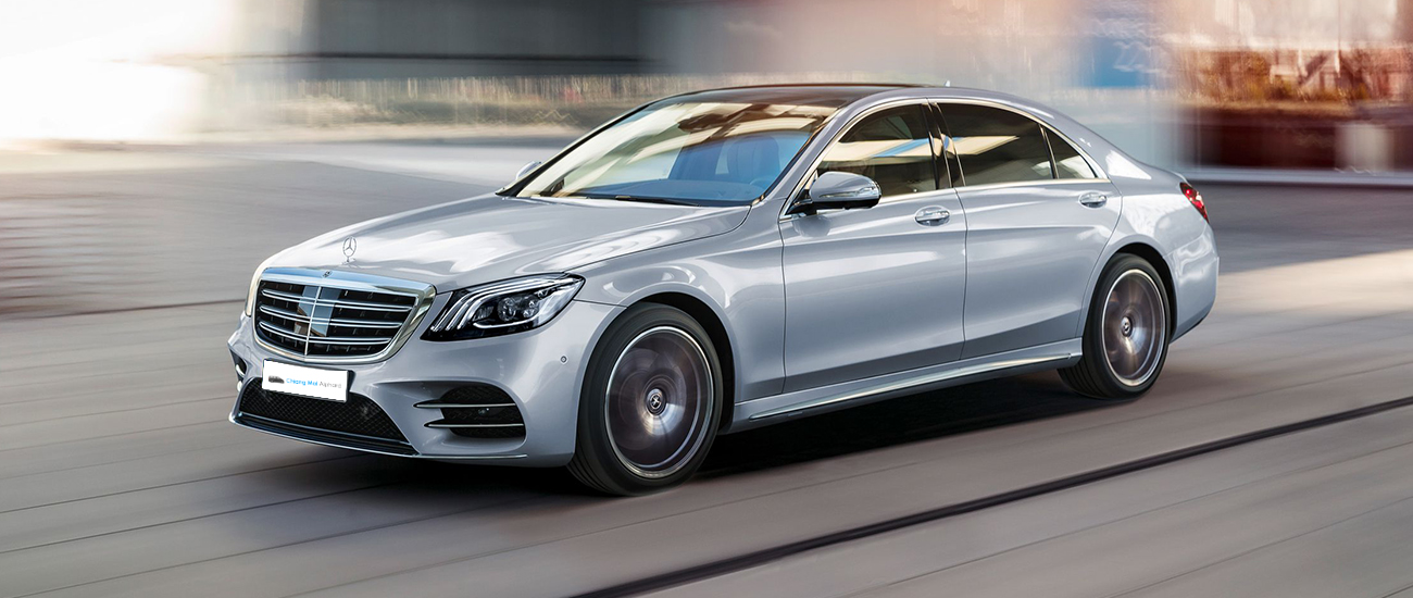 commercial image of benz s class ultimate luxurious car for rental