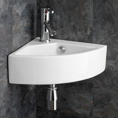 Florence Medium Sized Ceramic Wall Hung Corner Hand Bathroom Basin