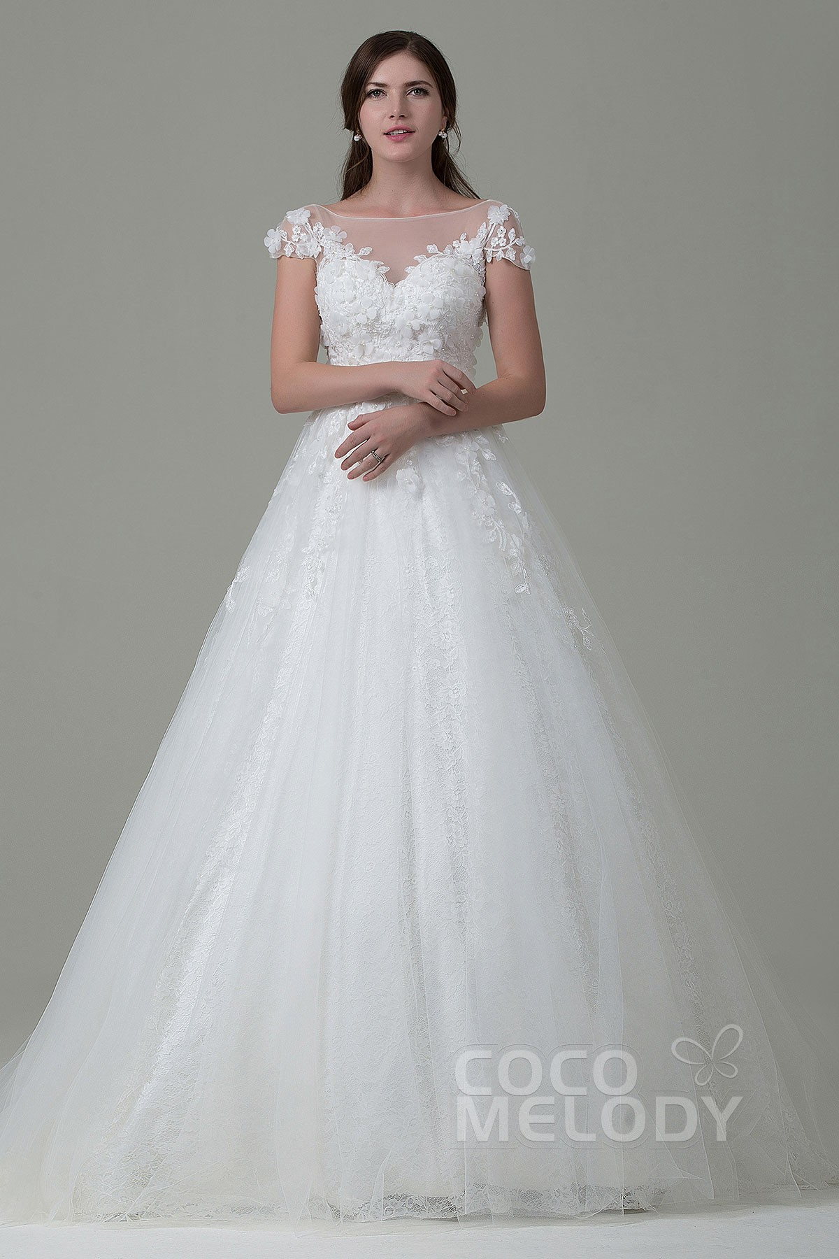 a line wedding dresses aline wedding dress Perfect A line Illusion Natural Court Train Tulle and Lace Cap Sleeve Open Back Wedding