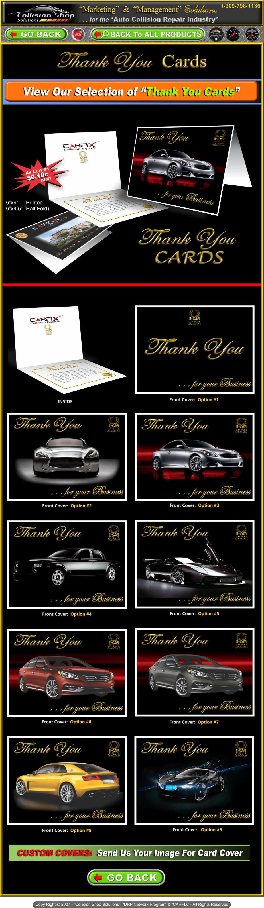 Customer  Thank You Cards  designed for Auto Body   Collision Shops