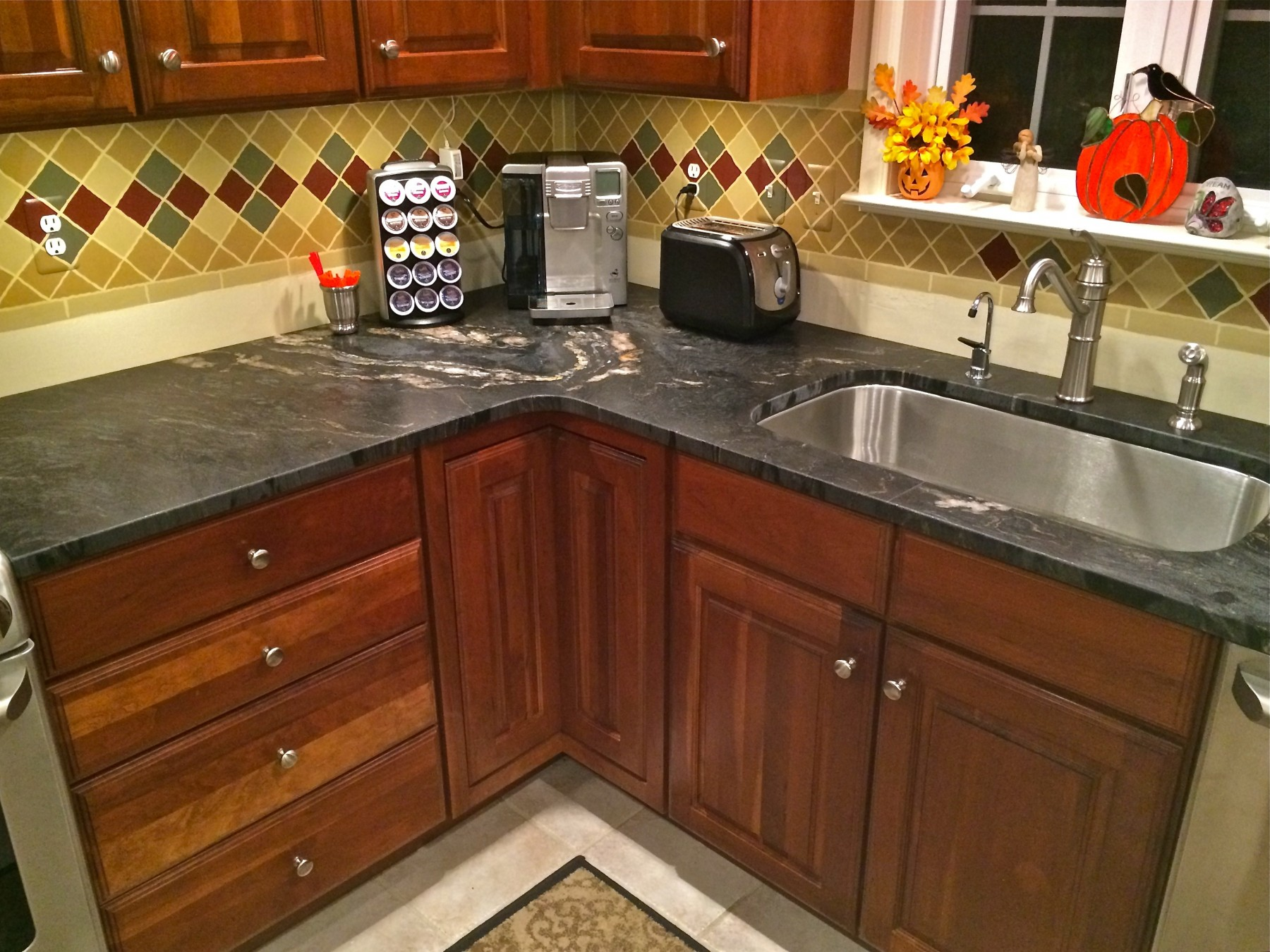natural stone kitchens colonial kitchen sink titanium black leathered w eased edge. beautiful ideas. Home Design Ideas