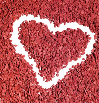 Studio photography of a heart shape carved out of a background made of red gravel stones   Stock ...