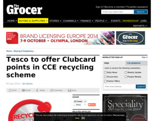 Tesco to offer Clubcard points in CCE recycling scheme - Tesco