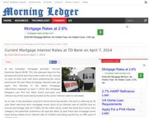 TD Bank - Current Mortgage Interest Rates at TD Bank on April 7, 2014