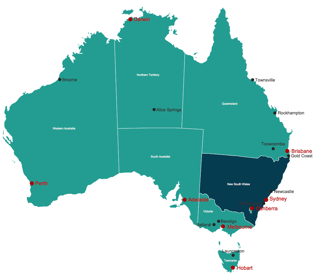 Map Australia     best tool for fast and easy drawing various types of Australia maps  maps  of Australia states and islands  Map Australia with cities  thematic  Australia