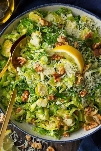 Shredded Brussels Sprout Salad with Romano Cheese, Toasted Walnuts and Lemon Vinaigrette ...
