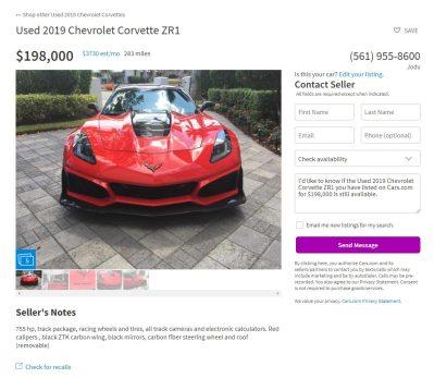 Corvettes for Sale: Used 2019 Corvette ZR1 Listed for ...