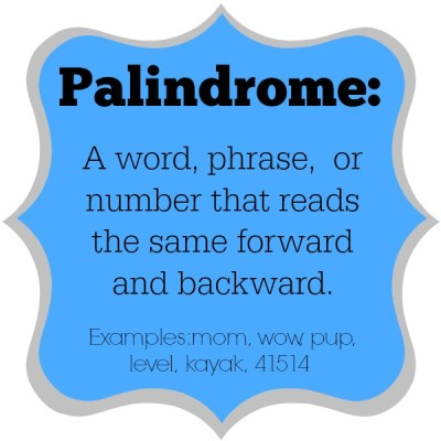 It's Palindrome Week