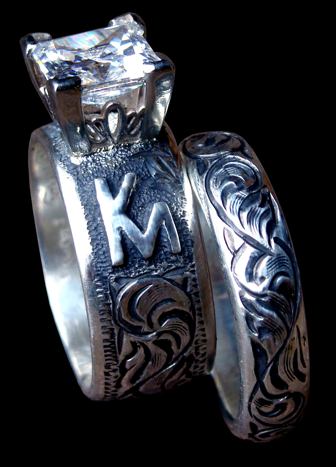 wedding rings western wedding rings set antique Solid Sterling Silver band set featuring a 2 carat princess CZ Hand engraved Made In USA Custom Made To Order
