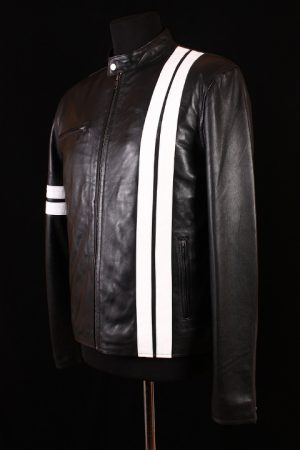 Men's DRIVER Black with White Stripes Lambskin Real Leather San Francisco Game Cosplay Jacket