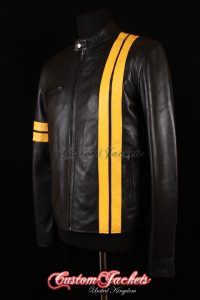 Men's DRIVER Black with Yellow Stripes Lambskin Real Leather San Francisco Game Cosplay Jacket