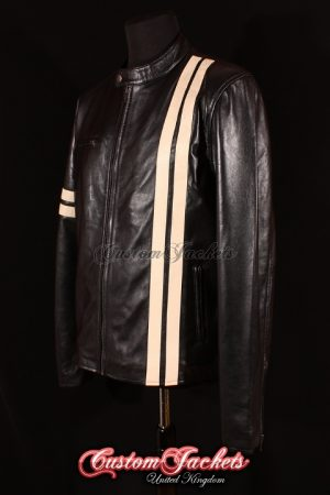 Men's DRIVER Black with Beige Stripes Lambskin Real Leather San Francisco Game Cosplay Jacket