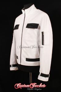 Men's KING OF FIGHTER White & Black Lambskin Real Leather Game Cosplay Jacket