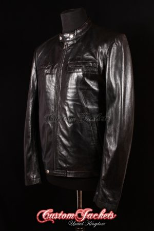 Men's EFRON 17 AGAIN Black Wrinkled Lambskin Biker Style Real Leather Film Movie Jacket