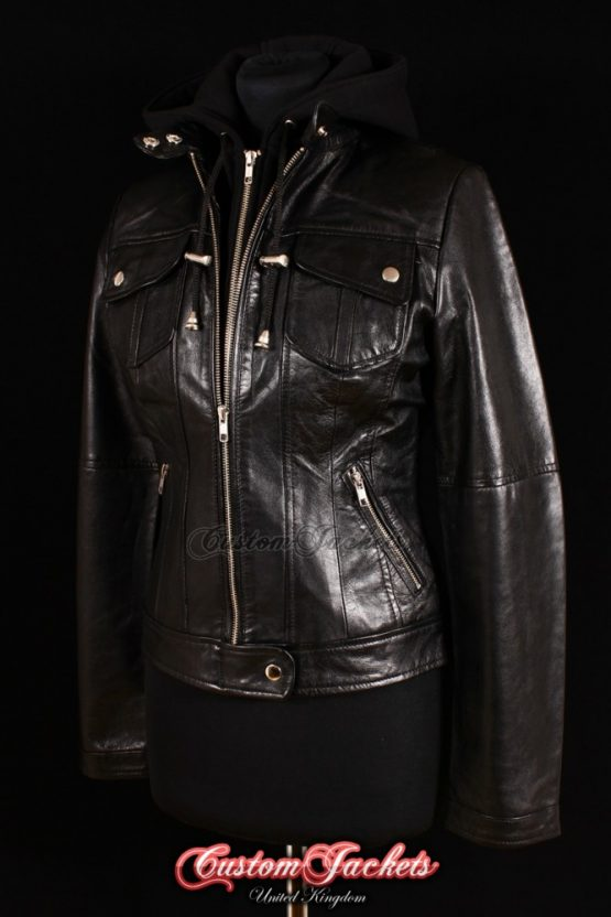 Ladies URBAN HOODED Black Lambskin Real Leather Cotton Hood Bomber Style Womens Jacket