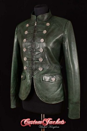 Ladies SHORT MILITARY Green Washed Lambskin Real Genuine Soft Leather Parade Womens Jacket