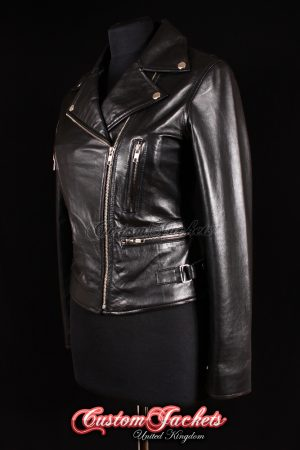 Ladies VIXEN Black Lambskin Real Soft Leather Motorcycle Slim-fit Fitted Biker Style Womens Jacket