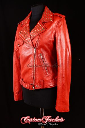 Ladies ROCKSTAR Red Washed Lambskin Real Leather Silver Studded Collar Motorcycle Biker Style Womens Jacket