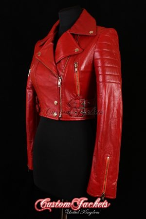 Ladies VOGUE CROPPED Red Lambskin Leather Short Biker Motorcycle Style Quilted Womens Blouson Jacket