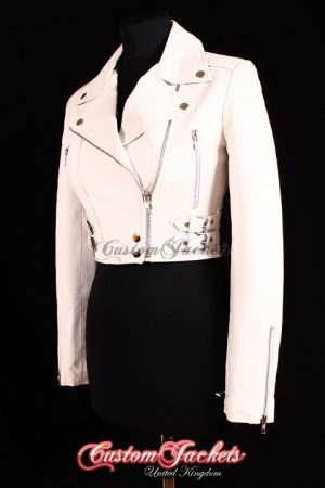Ladies VOGUE CROPPED White Lambskin Leather Short Biker Motorcycle Style Quilted Womens Blouson Jacket