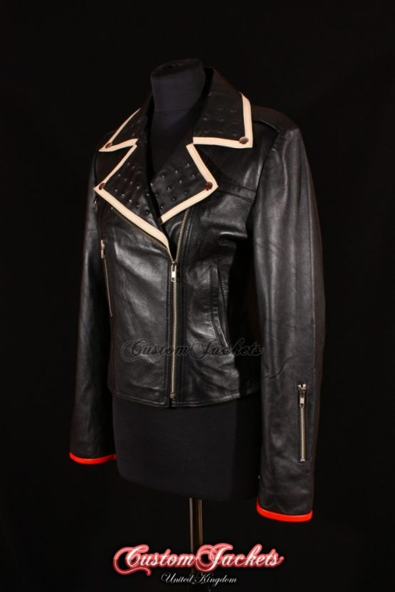 Ladies GIRL WITH THE DRAGON TATTOO Black Lambskin Red Accent Hidden Studs Leather Biker Style Blouson Jacket