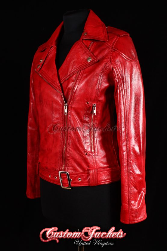 Ladies CHELSEA GIRL Red Washed Lambskin Genuine Leather Slim Fitted Motorcycle Biker Style Jacket
