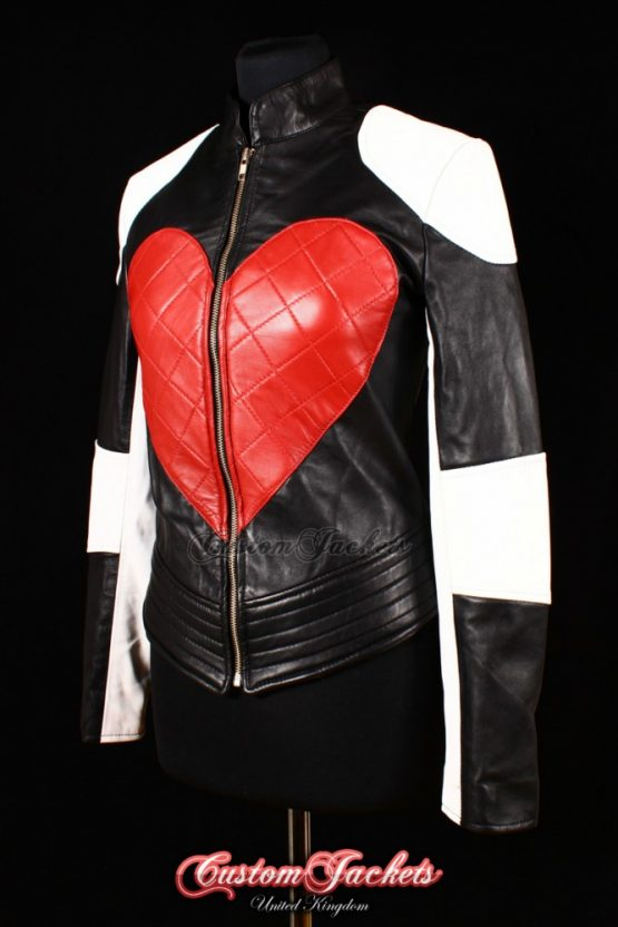 Ladies TIMEBOMB Black Lambskin Kylie Minogue Red Heart White Peace Music Hip Hop Leather Biker Style Jacket