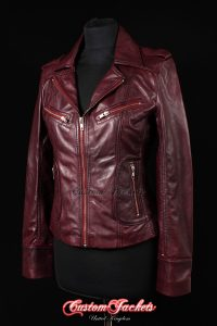 Ladies ESCAPE Cherry Red Washed Nappa Lambskin Leather Short Biker Style Jacket