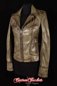 Ladies ESCAPE Olive Green Washed Lambskin Leather Motorcycle Biker Style Jacket
