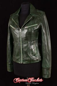 Ladies ESCAPE Green Washed Lambskin Real Leather Motorcycle Biker Style Jacket
