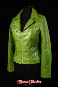 Ladies ESCAPE Lime Green Washed Lambskin Leather Motorcycle Biker Style Jacket