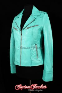 Ladies ESCAPE Turquoise Lambskin Genuine Leather Motorcycle Biker Style Jacket