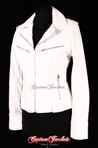 Ladies ESCAPE White Lambskin Genuine Leather Motorcycle Short Biker Style Jacket