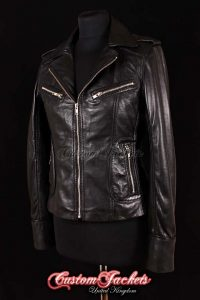 Ladies ESCAPE Black Lambskin Leather Motorcycle Fitted Biker Style Blouson Jacket
