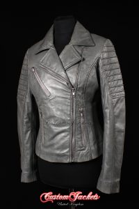 Ladies FURIOUS Grey Washed Lambskin Real Leather Short Fitted Motorcycle Womens Cool Biker Style Jacket